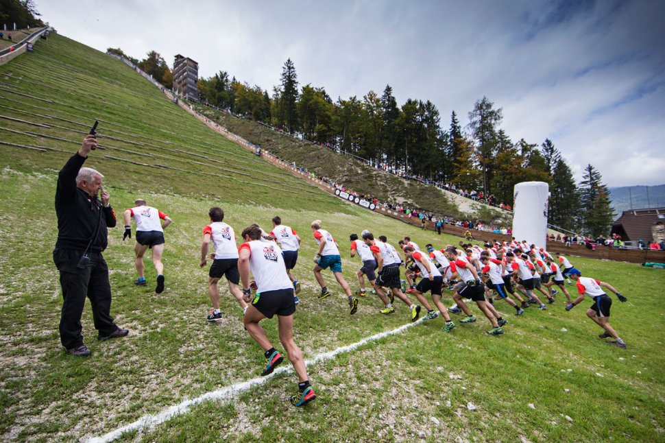 Competitors compete during the Red Bull 400 in Planica, Slovenia on September 19, 2015