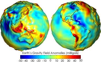 Geoid. Slika nam prikazuje kako nenakomereno je porazdeljen gravitacijski pospešek na Zemeljskem povšrju. Ralzike so zapisane v enoti miligal, ki znaša 1/100000 m/s^2 (Satelit Grace, NASA)