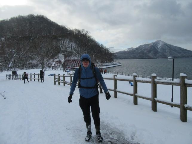 Shikotsu-Kohan- začetek ture- Mount Taruame je v ozadju