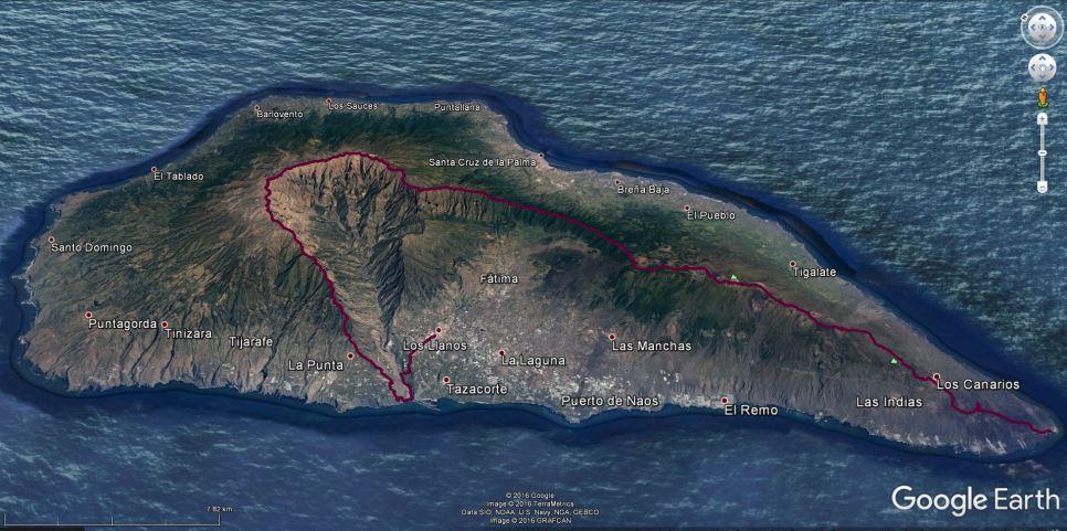 La Palma z vrisano traso Transvulcanije