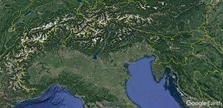 Lokacija Mont Blanca v Alpah