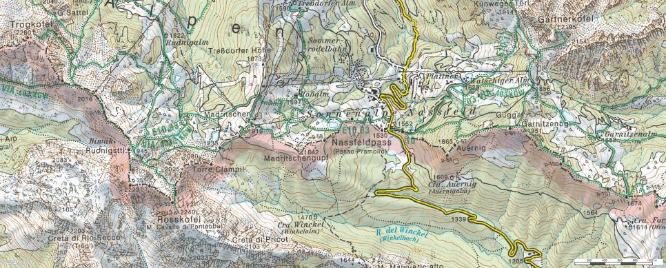 Območje Nassflelda (Vir: http://www.austrianmap.at/amap/index.php?SKN=1&XPX=637&YPX=492)