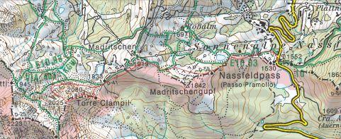 Z rdečo črto sem označil potek pristopa in ferate na Torre Clampil