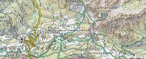 Z rdečo črto sem označil potek pristopa in ferate na Däumling