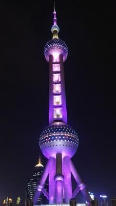 Oriental Pearl Tower ponoči