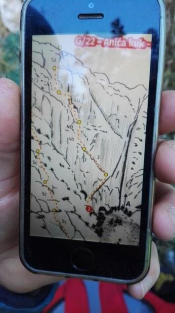 GNSS navigacija v stenah še ne obstaja. Lahko pa s pametnim telefonom slikamo (shranimo) skico smeri, kot sme to naredil pred kratkim v Paklenici