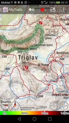 Isto območje s štirimi prikazano s različnimi zemljevidi v aplikaciji MyTrails