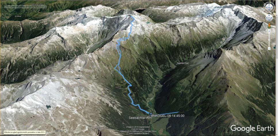 GPS sled moje poti na Ankogel