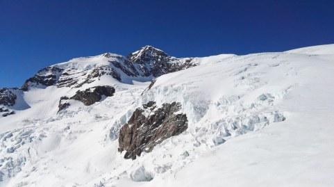Pogled na ledenik iz koče Gnifetti