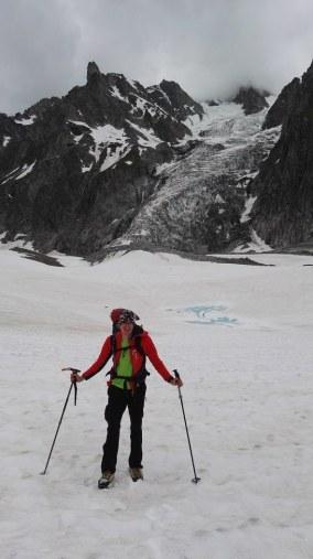 Na ledeniku Miage z ledenikom Dome v ozadju