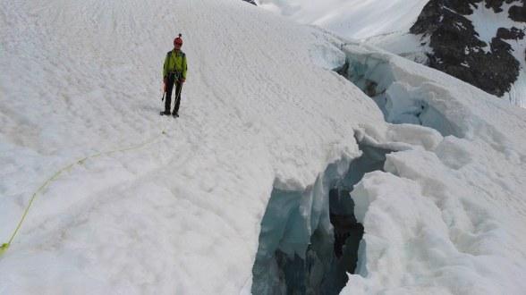 Ledeniške razpoke na ledeniku Dome