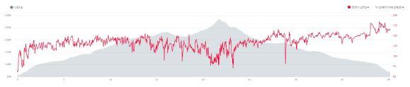 Srčni utrip: kaže, da sem se na dol veliko bolj matral, kot na gor