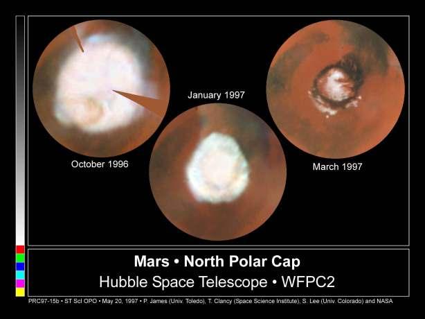 Zaradi vpliva letnih časov se polarni kapi večata in manjšata