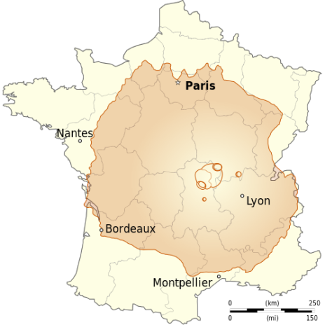 Velikost vulkana v primerjavi s Francijo (foto: Wikipedia)