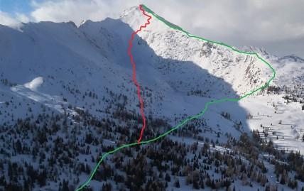 Zelena črta: smer vzpona; rdeča črta: smer smučanja