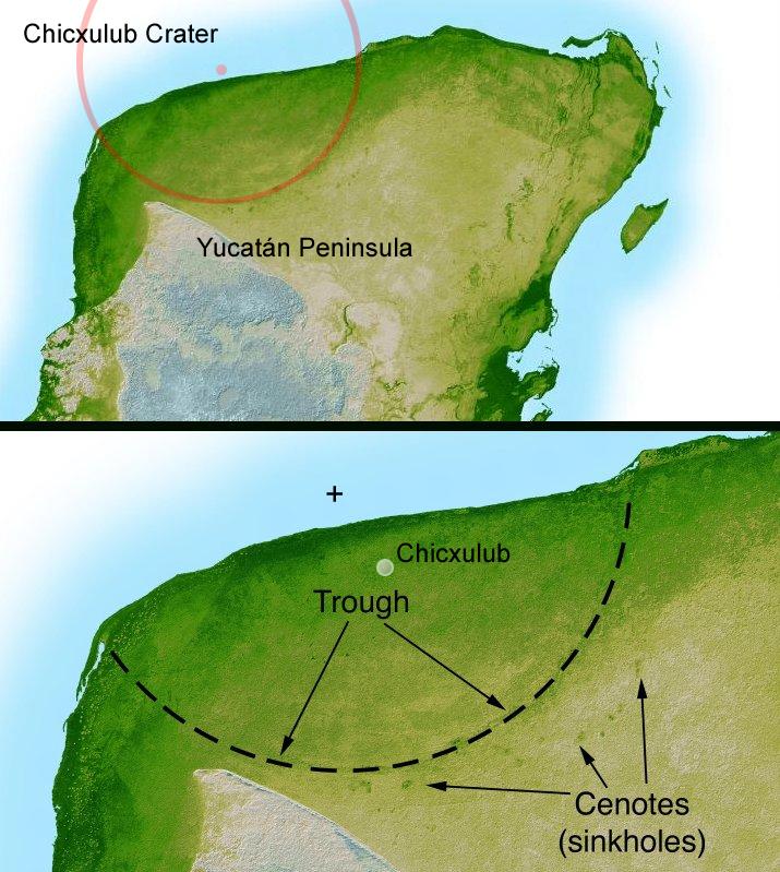 Večina kraterja Chicxulub je pod oceanskim dnom, deloma pa je tudi izražen na kopnem na polotoku Jukatan (foto: NASA/JPL-Caltech, David Fuchs)